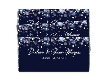 Blue Snowflakes Large Hershey Wrappers - Candy Bar Wrappers  - Winter Wedding Favors Birthday Favors Bridal Shower - Set of 2 Candy Wrappers