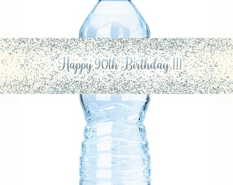 Birthday Water Bottle Labels -Silver and Blue Birthday Labels, Glow Party, Glitter, Birthday Decor, Gold Party Decor , Birthday Decor