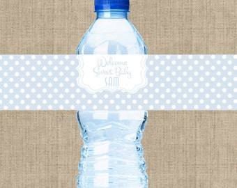30 Polka Dots Baby Shower Water Bottle Labels | Baby Shower Stickers | Baby Shower Favors | Baby Shower Decor | Baby Shower Party Favors