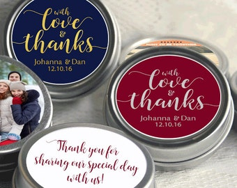 With Love and Thanks Wedding Favors - Wedding Favor Mint Tins - Personalized Mint Favor - Mint to Be Wedding Favor - Mint Tin Favors
