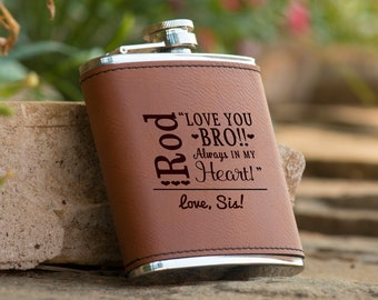 Personalized Bridal Party Brown Leather Flask, From Sister to Brother, Brother of the Bride, Personalized Gifts, Gift for Brother
