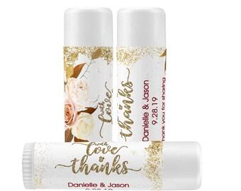 Fall Wedding Favors Lip Balm Labels | Personalized Lip Balm Labels |  With Love and Thanks labels | 1 Sheet of 12 Lip Balm Labels