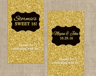 Gold Glitter Miniatures Chocolate Wrappers - Birthday Mini Chocolate Wrappers - Birthday Decor - Wedding Decor - Gold Glitter Stickers