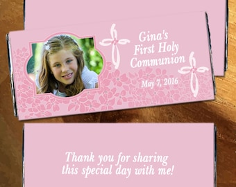 First Communion Chocolate Bar Wrappers - Holy communion candy wrapper, Pink Communion Wrappers, Girls Communion, First Communion (Set of 12)