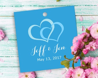 """12 custom tags square 2"""", wedding themed, heart tags, double hearts tags, wedding favor tags, candy bag tags, personalized favors, hang tag"""
