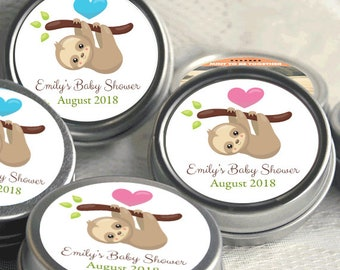 12 Personalized Baby Shower Mint Tins - Sloth Baby Shower Favors - Baby Sloth Baby Shower Favors - Sloth and Heart