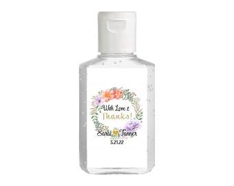 Floral Wreath Bridal Shower Favor | Hand Sanitizer Label | Rectangular Labels | Autumn Bridal Shower | Bridal Shower | Wedding Shower