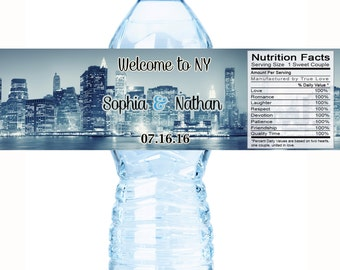 Personalized City Scapes Wedding Water Bottle Labels - NY Cityscapes - New York City Scapes - 20 NY Water Bottle Labels - New York Wedding