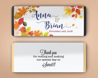 12 Large Personalized Candy Bar Wrappers - Bridal Shower Favor  -  Fall Wedding Decor - Birthday Favor  - Fall Leaves (Set of 12)