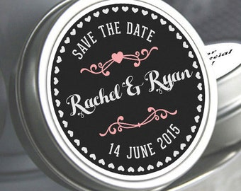 Save the Date - 12  Save the Date Mint Tins - Wedding Decor - Engagement Favors - Wedding Mints - Hearts and Names - Wedding Tin Mints