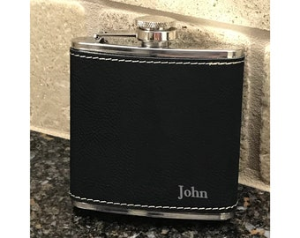 Groomsmen Gift Flask | Personalized Engraved Box Set | Best Man | Bridesmaid | Bachelor Party | Proposal | Wedding Favors | Black Leather