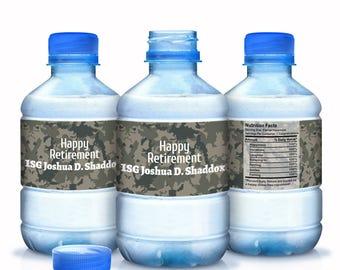 Retirement Water Bottle Labels - 30 Armed Services Retirement Water Labels - Military Retirement Labels - Camouflage Retirement Labels