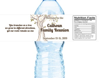 Family Reunion Water Bottle Labels, DIY water bottle templates