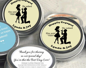 24 Engagement Party Decor -Wedding Favor Mint Tins -Buttercup - Engagement Announcements - Engagement Favors - Engagement Favor Mints