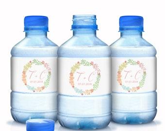 30 Monogram Wedding Water Bottle Labels - Wedding Decor - Wedding Favors - Wedding Labels - Bridal Shower Labels - Bottle Wraps