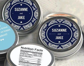 Wedding Decor - 12 Wedding Mint Tins - Wedding Favors - Love is Sweet Favors - Navy Blue - Damask Favors - Personalized Tin Mints