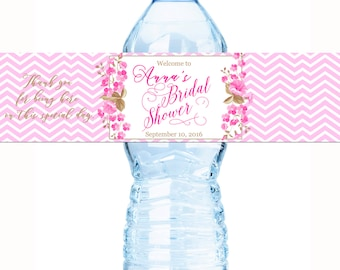 Bridal Shower Water Bottle Labels -  Wedding Water Bottle Labels - Pink Chevron - Floral Wedding - Bridal Shower Decor - Waterproof Labels