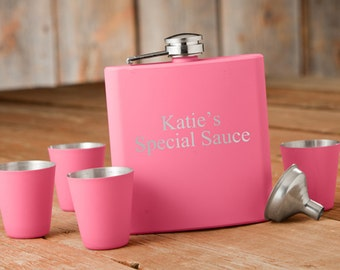 Laser Etched Flask - Matte Pink Flask & Shot Glasses Set - In Gift Box - Bridesmaid Gift - Wedding Party Gift - Maid Of Honor Gift - Flasks