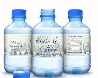 Winter Wonderland Wedding Water Bottle Labels - Winter Wedding Decor - Winter Wedding Favors  - Waterproof Winter Scene Labels
