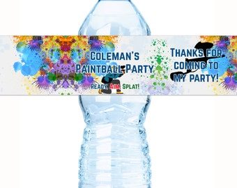 Paintball Birthday Water Bottle Labels  - 30 Paintball Bottle Wraps - Paintball Birthday Labels - Paintball Stickers - Paintball Birthday