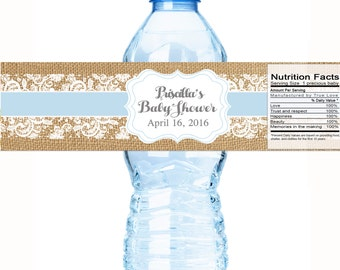"Rustic Burlap and Lace Baby Shower Water Bottle Labels - Select the quantity you need below in the ""Pricing & Quantity"" option tab"