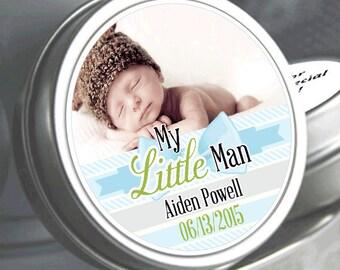 12 My Little Man Baby Shower Photo Mint Tin Favors- Baby Shower Favors - Baby Shower Photo Favors