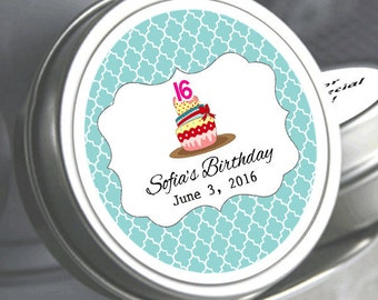Sweet 16 Party Favors - Sweet 16 Cupcake Design Party Favors - Sweet 16 Mints - Sweet 16 Mint Tins - Sweet 16 Candy Containers
