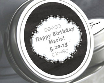"""12 Personalized Birthday Matinee Mint Tin Favors  - Select the quantity you need below in the """"Pricing & Quantity"""" option tab"""