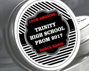 """12 Personalized Silver Stripes Prom Mint Tin Favors - Select the quantity you need below in the """"Pricing & Quantity"""" option tab"""