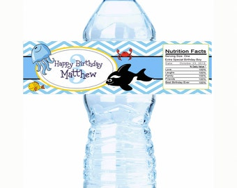 """20 Under the Ocean Themed Birthday Water Bottle Labels - Select the quantity you need below in the """"Pricing & Quantity"""" option tab"""