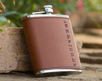 Personalized 6 oz. Leatherette Stainless Steel Flask - Grooms Flask -  Gift Flask - Brown Flask - Longitude and Latitude Flask