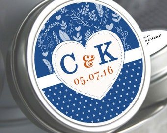 Wedding Favors - Wedding Mint Tins - Wedding Mints - Monogram Hearts - Feathers - Dots - Initials and Date - Wedding Decor - Kosher Mints