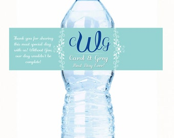 "20 Monogram Color Coordinated Wedding Water Bottle Labels - Select the quantity you need below in the ""Pricing & Quantity"" option tab"