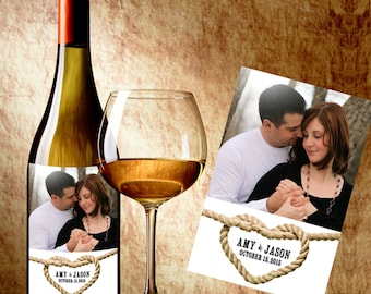 Wedding Wine Label - Wine Label with Photo - Wedding Photo Wine Bottle Labels - Love Knot Photo Wine Labels - Love Knot Heart Wine Labels