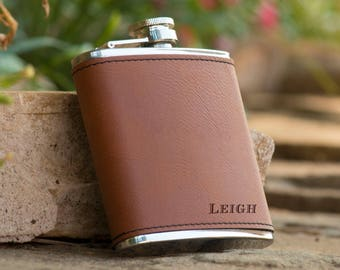 Personalized 6 oz. Leatherette Stainless Steel Flask - Groomsman Flask - Best Man Flask - Usher Flask