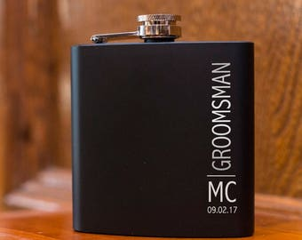 Laser Etched Flask -Vertically Personalized Black Hip Flask - In Gift Box - Groomsman Gift Wedding Party Gift - Best Man Gift - Black Flask