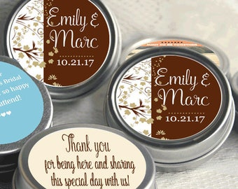 150 Personalized Fall Mint Tins -  Autumn -  Fall Wedding - Fall Bridal Shower - Mint Favor Keepsake -  Thank You Gift - Fall in Love