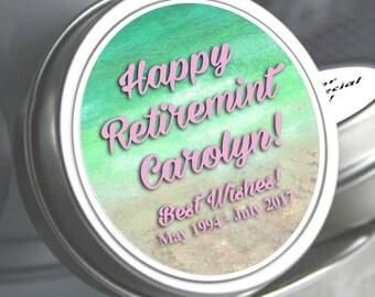 12 Retirement Mint Tins - Retire Mints - Beach- Retirement Favors - Retirement Decor - Retirement Mints - Retired Mints - Ladies Retirement