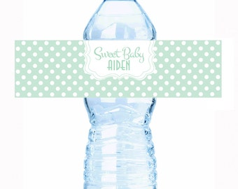 """Rustic Sweet Dots Baby Shower Water Bottle Labels - Select the quantity you need below in the """"Pricing & Quantity"""" option tab"""