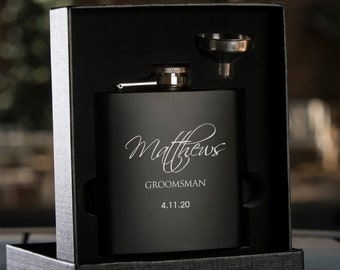 Personalized Engraved Flask   Personalized Black Flask   Groomsman Flask   Best Man Flask   Wedding Party Flask   Bridal Party Flask