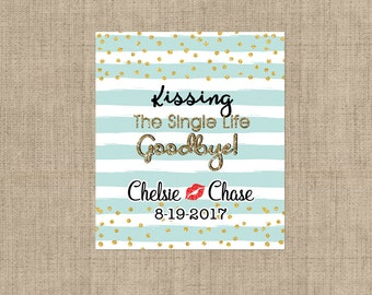 Lip Balm Labels - Personalized Lip Balm Labels - Kissing the Single Life.. - 1 Sheet of 12 Lip Balm Labels - Custom Teal Lip Balm Labels