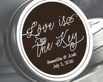 Wedding Decor  - Wedding Favor Mint Tins - Wedding Mints  - Personalized Wedding Favors - Love is the Key - Custom Mint Tins - Candy Mints