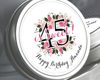 45th Birthday Mint Tins - Birthday Mints - Floral - Birthday Favors - Birthday Decor - Birthday Mints - Mint Favors - Milestone Birthday