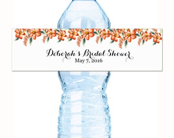 30 Bridal Shower Water Bottle Labels - 30 Wedding Water Bottle Labels - Wedding Decor - Bridal Shower Decor - Floral Bottle Labels - Labels