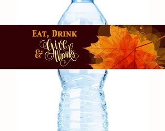 25 Thanksgiving Water Bottle Labels - Thanksgiving Decor - Thanksgiving Favors - thanksgiving Bottle Wraps - Autumn Decor - Waterproof