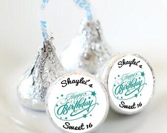 Sweet 16 Hershey Kiss® Stickers - Hershey Kiss Stickers Birthday - Personalized Hershey Kiss Labels - Birthday Hershey Kiss Seals
