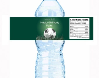 """30 Personalized Soccer Birthday Water Bottle Labels - Select the quantity you need below in the """"Pricing & Quantity"""" option tab"""