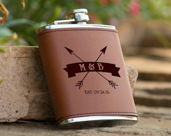Personalized Initials Brown Leather Flask |  Groomsman Flask Best Man Gift  Personalized Flask Gifts for Him Boyfriend Gift Husband Gift