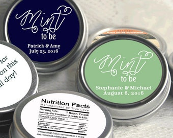 Wedding Favors - Mint Favors - Mint to Be Favors - Wedding Mints - Personalized Wedding Tin Mints - Mint Tins - Wedding Candy Containers