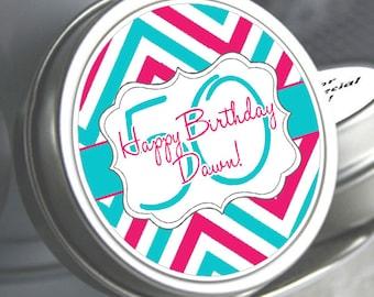 Chevron Birthday Party Favors, Birthday Mint Tins, Milestone Birthday Favors, Fun Birthday Favors, Personalized Mints